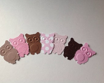 50 pc Pinks & Browns  Paper Owls    Baby SHower     New Baby   Shower
