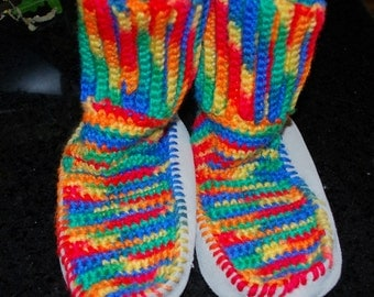 Crochet Youth Houseshoe Booties Multi-Colored
