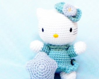 Amigurumi toy doll pattern - Wishing Star Kitty - crochet tutorial PDF - crochet amigurumi