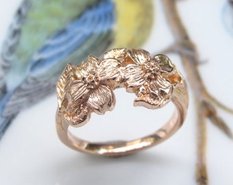 Dogwood Flowers Rose Gold Ring