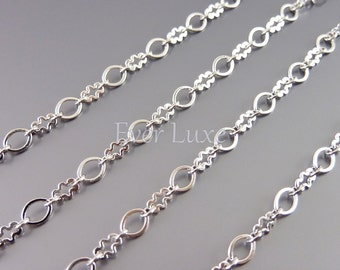 1 meter oval and cloud link chain, designer chains, silver chains, jewelry making supplies, jewelry chains B030-BR