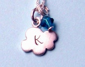 Initial Necklace Cloud Necklace Personalized Jewelry Swarovski Crystal Sterling Silver Stamped Monogram Jewelry Alphabet