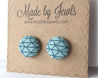 Fabric Covered Button Earrings - Blue Helix - Buy 3, get the 4th FREE