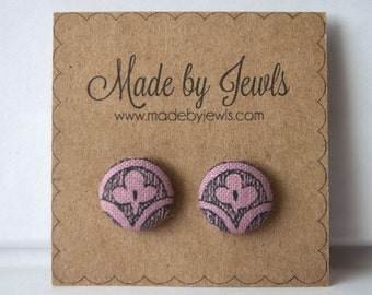 Fabric Button Earrings - Fleur-de-Plum - Buy 3, get the 4th free