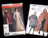 Pair of Women's Historical Costume Patterns with Elizabethan Gown and Cloaks size 6 - 18