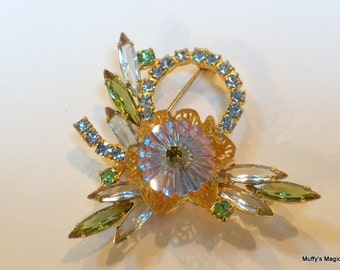Vintage Juliana Margarita Brooch Pale Blue Rhinestones Green