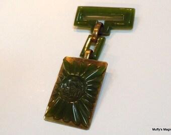Bakelite Rose Brooch on Brass Green Bakelite