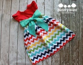 Girls Riley Blake Rainbow Chevron Dress with Flutter Sleeves and Sash 6-12m - size 6