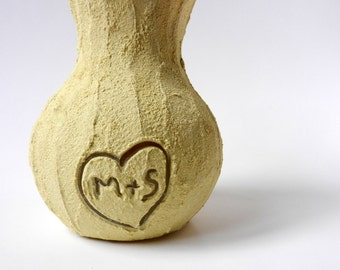 Yellow Vase with carved initials / wedding gift / couple gift /  home decor / Butter yellow Vase / Flower vase