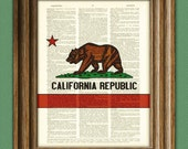 California state flag bear and star Republic awesome upcycled vintage dictionary page book art print