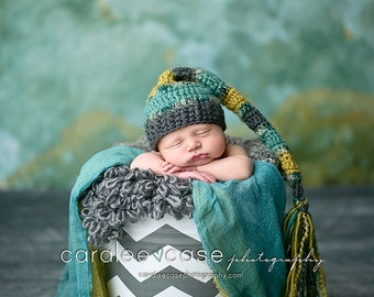 Elf Hat in Charcoal, Teal, and Yellow/Green with Fringe Tail