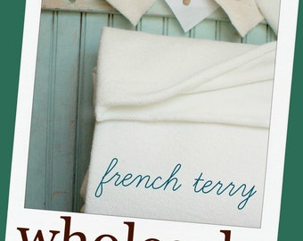10 Yards Organic French Terry 62 Inches Wide - Wholesale Bolt - Extra Wide 8.74 OZ Eco Friendly Made in the US - French Terry Cloth White