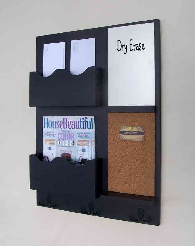 mail organizer cork board white board key hooks by legacystudio. Black Bedroom Furniture Sets. Home Design Ideas
