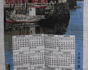 Vintage Kay Dee Handprinted Towel 1978 Down to the Sea in Ships
