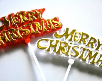 6 Merry Christmas Cake Toppers Set