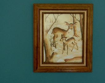 Vintage Framed Deer in Forest Print