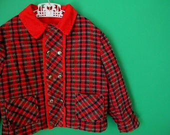 Vintage 1950s 1960s Children's Double Breasted Corduroy Jacket - Size 2T 3T