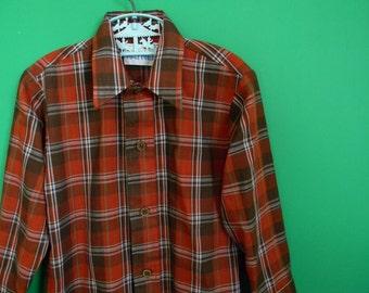 Vintage Boy's 1970s 1980s Brown Plaid Shirt - Size 5
