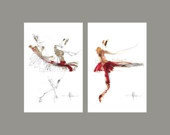ballet art - set of 2 11 by 17  - Ballet Aesthetics of Ninety Degrees, Demi - Soloists, interior design