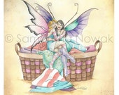 Cute Fairy Art, Best Friend Art, Fantasy Art, Digital Print, Fairy Print, Fairy Pictures, Cozy Socks by Samantha Jean Illustrations
