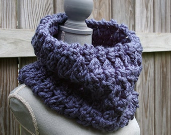 The Cozy Cowl Scarf in Denim Blue Hand Crocheted