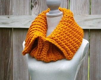 The Split Cowl Scarf in Pumpkin Orange Hand Crocheted