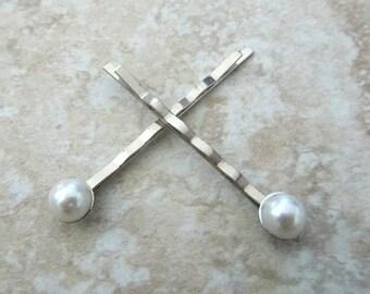 Pearl silver hair bobby pin 2pcs