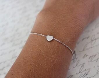 Tiny Silver heart Bracelet...Small Heart Bracelet...Small Initial Bracelet...bridal party jewelry gift idea birthday