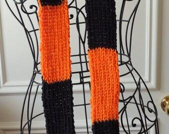Orange & Black Striped Ribbed Knit Scarf