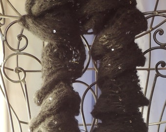 REDUCED PRICE! Soft Black Sparkle Ruffled Scarf