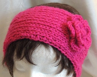 CLEARANCE SALE! Hot Pink Knitted Headband With Crocheted Flower