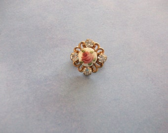 Dainty Vintage Jeweled Rhinestone and Handpainted Italian Glass Rose Brooch/Pin