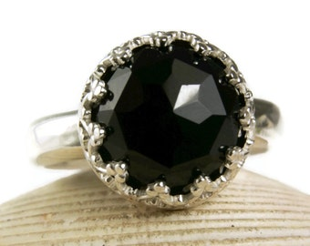 Rose Cut Black Onyx Ring, Sterling Silver Gemstone Ring, Black Stone Ring