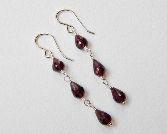 Garnet Briolette Earrings - Sterling Silver Teardrop Dangle Drop Earrings Oxblood Red Beadwork Earrings