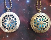 Brass or Silver Plated Glow In The Dark Celtic Galaxy Locket Necklace