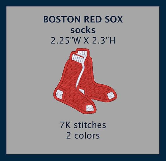 """BOSTON RED SOX """"socks"""" machine embroidery design file"""