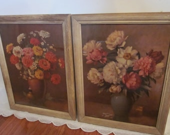 vintage Peonies & Zinnias. 2 Still Life Botanical Framed Floral Art Prints by (Mae) M. Bennett Brown. Rustic frames. Romantic cottage decor