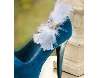 Shoe Clips White / Ivory Bow. MANY COLOURS AVAILABLE Holidays Wedding, Ostrich Plumes. Bride Bridal Bridesmaid, Edgy Bold Rockabilly Couture