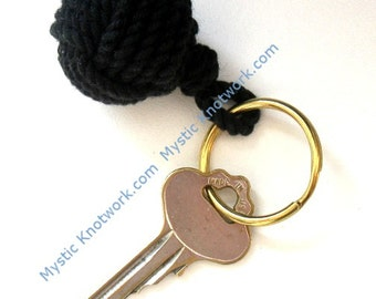 Nautical Keyring Black Monkey's Fist Keychain Compact Style for men