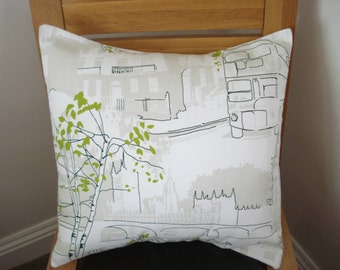 Pillow London green white Bus trees Big ben 18 inch cushion cover UK British scene