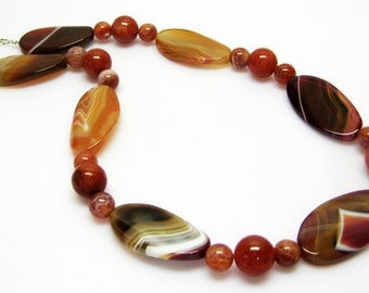 Sale Purple Striped Agate Necklace - Fire Agate Necklace - Burnt Orange Necklace - Gemstone Necklace - Fashion Jewelry - OOAK