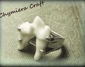 Lycanthrope Genuine Coyote Molar Tooth Set in Sterling Silver 4 Prong Setting- MADE to ORDeR in Your size