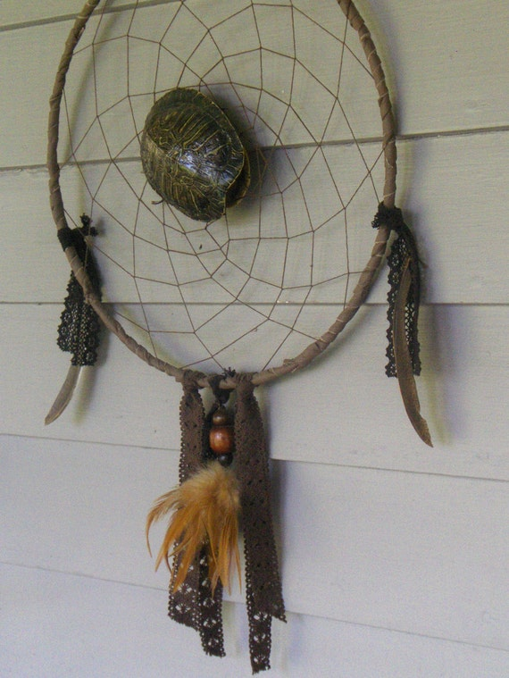 Handmade Native Shaman Dreamcatcher WANDERING CHELONIAN SPIRIT Rustic Genuine Turtle Shell Deer Leather Old Lace Wood & Feathers Unique ooak