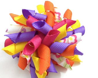 Purple, Pink, Yellow, Orange Flower Korker Hair Bow - Handmade - Curly Ribbon Hair Bow - Bright Flower Hair Bow - Summer Bow - 2.5 inch Bow