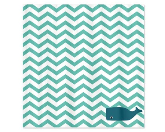 Chevron Aqua Whale Childs Shower Curtain Perfect For Boys