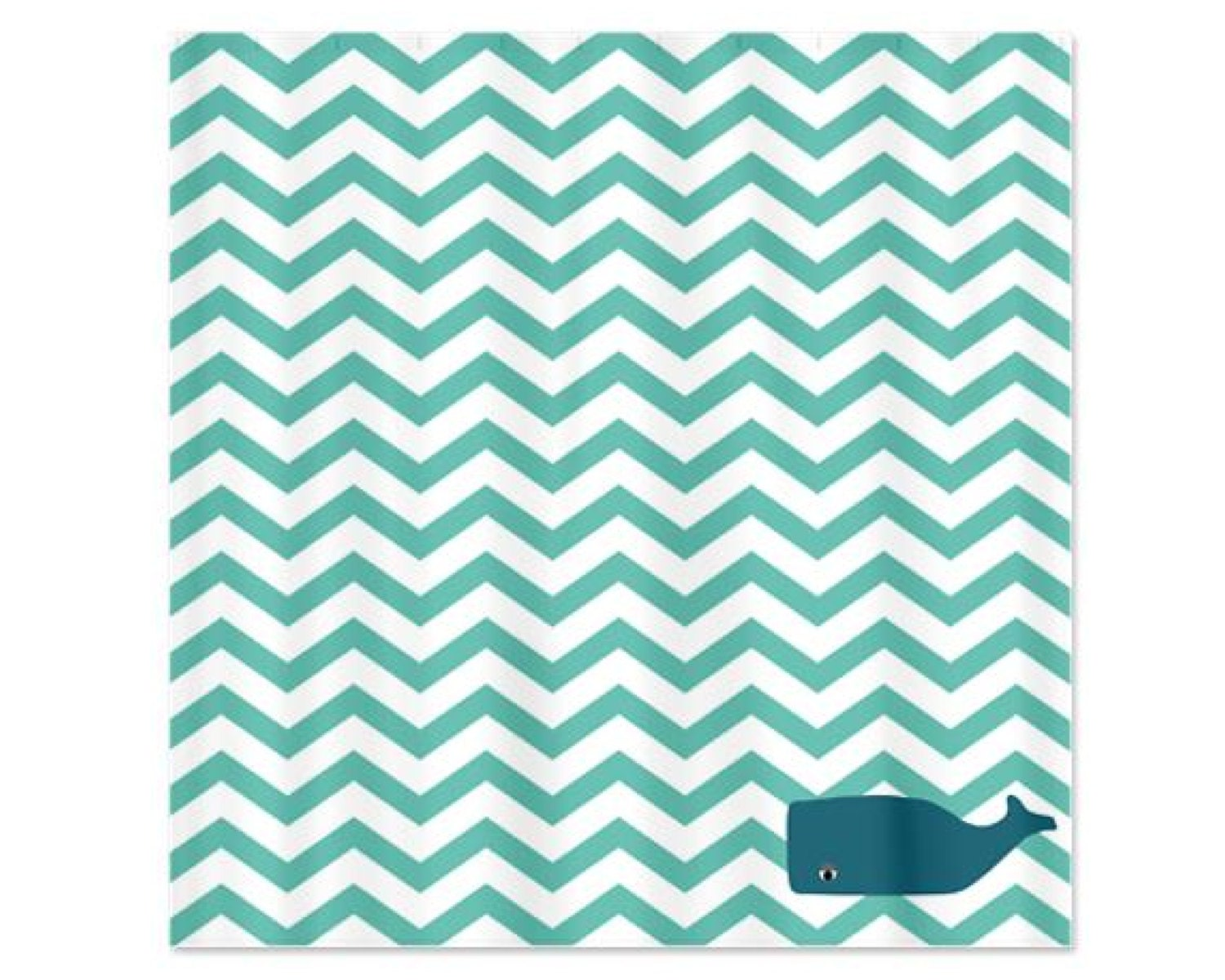 Chevron Aqua Whale Childs Shower Curtain By HappywoodGoods