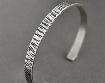 CLEARANCE Mens Cuff Bracelet, Sterling Silver Hammered