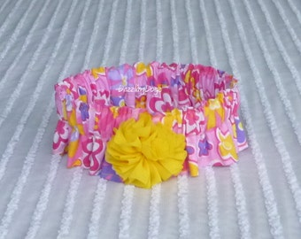 "Yellow & Pink Floral Dog Scrunchie Necklace with chiffon flower - L: 16"" to 18"" neck"