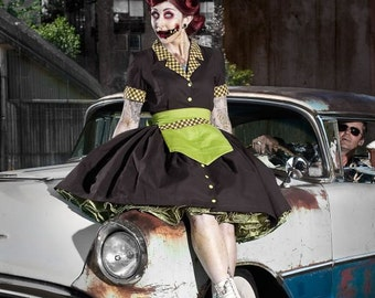Zombie Pinup Car Hop Retro 50s Waitress Dress Apron and Hat  Womens Adult Girls Handmade High Quality Halloween Costume Custom Size Plus