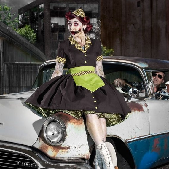 Zombie Pinup Car Hop Retro 50s Waitress Dress Apron and Hat Halloween Costume Custom Size including Plus Size
